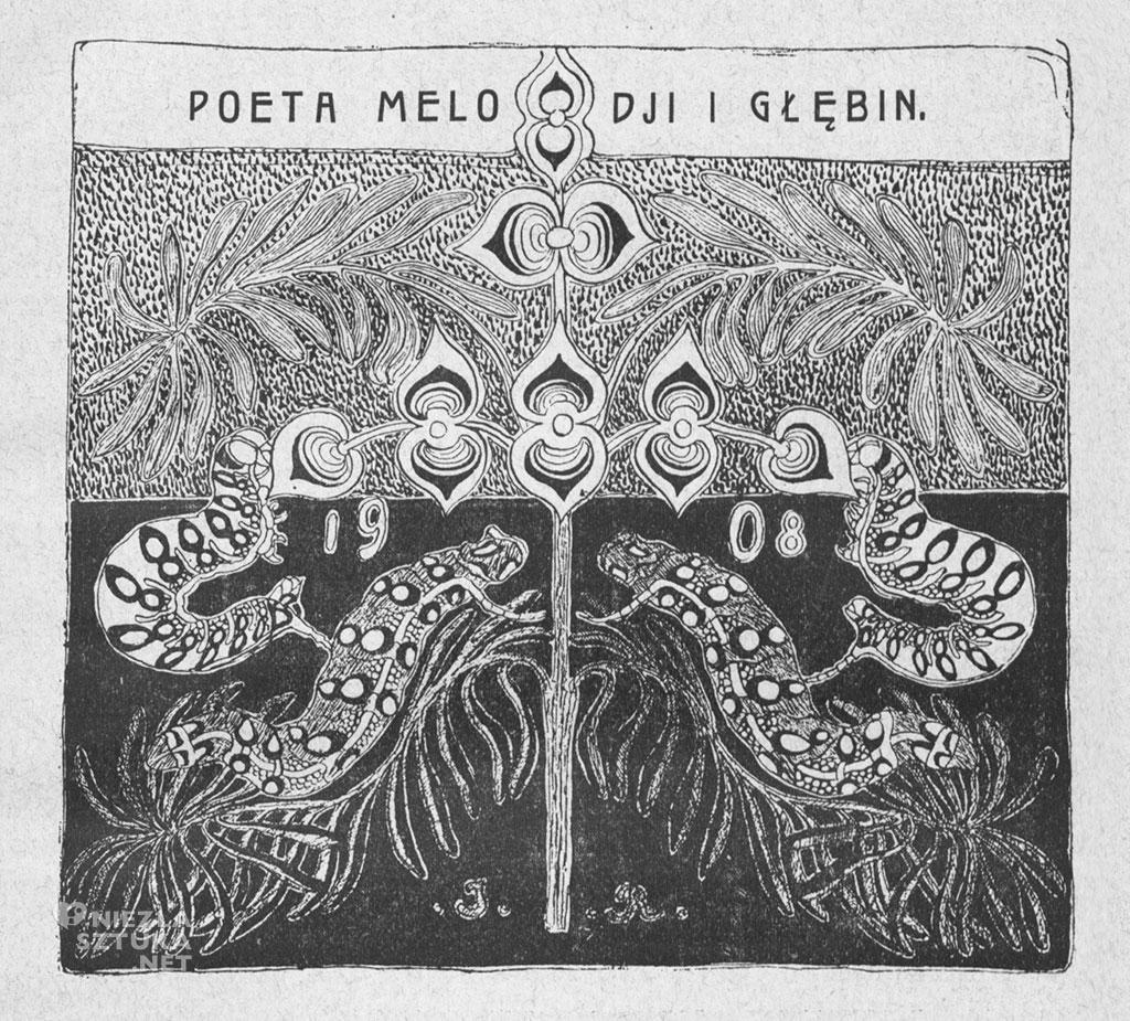"""Jan Rembowski, winieta w studium Władysława Bukowińskiego Poeta melodii i głębin, Warszawa 1909 (Wydawnictwo """"Sfinksa""""), wcześniej wykorzystana w """"Sfinksie"""" 1908"""