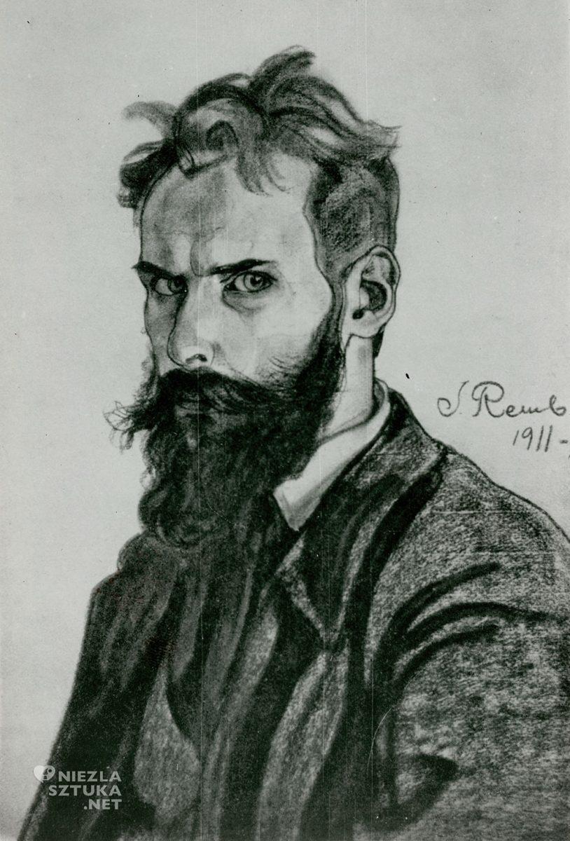 Jan Rembowski Autoportret, węgiel (?) | 1911, repr. Jan Rembowski. 29 reprodukcyj, słowo wstępne Jerzy Mycielski, życiorys Józef Gardecki, Warszawa 1924