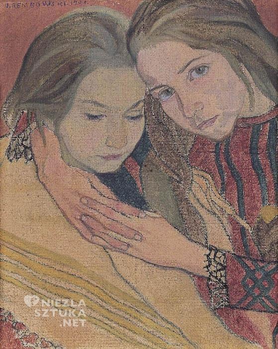 Jan Rembowski Dwie dziewczynki, olej, 1904, Agra-Art