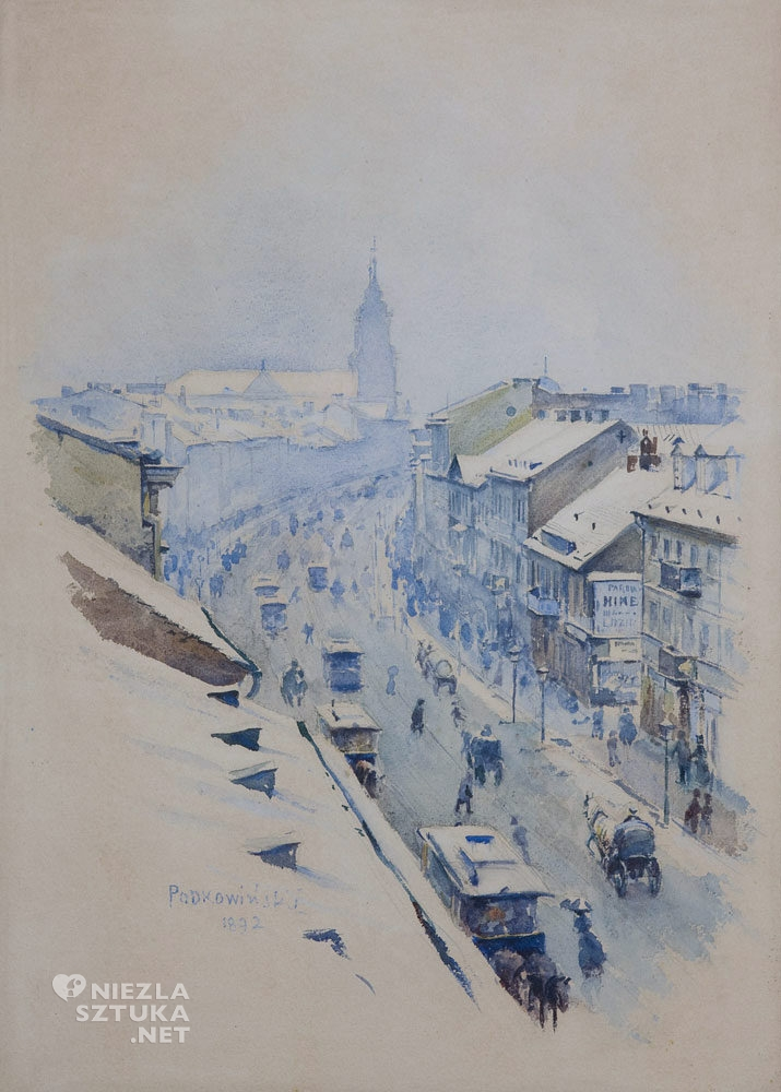 Władysław Podkowiński, Widok na Nowy Świat w Warszawie zimą,malarstwo polskie, sztuka polska, Niezła Sztuka
