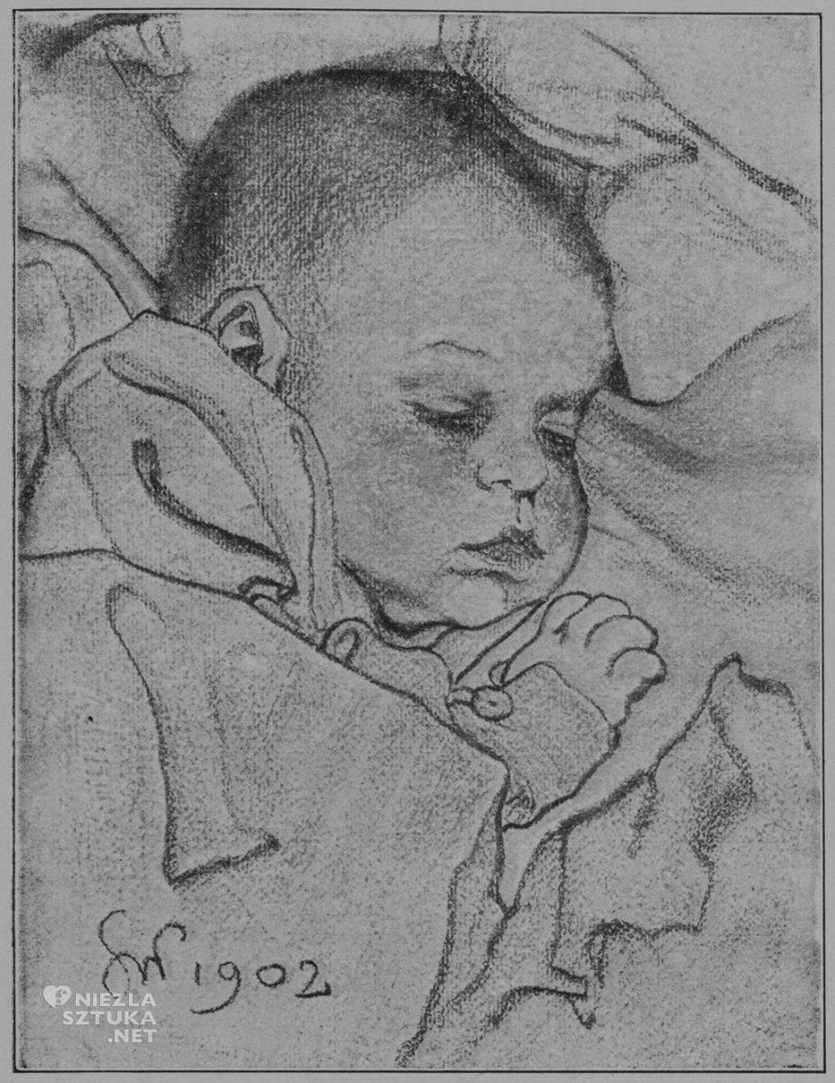 Stanisław Wyspiański Główka dziecka, węgiel, 1902, repr. Stanisław Wyspiański. Dzieła malarskie, Bydgoszcz 1925, s. 61