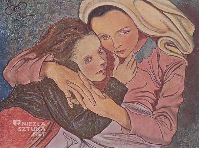 Stanisław Wyspiański Caritas, pastel, 1904, repr. Sztuka polska. Malarstwo, pod kierownictwem Feliksa Jasieńskiego i Adama Łady Cybulskiego. Sześćdziesiąt pięć reprodukcyj …,  Lwów 1904