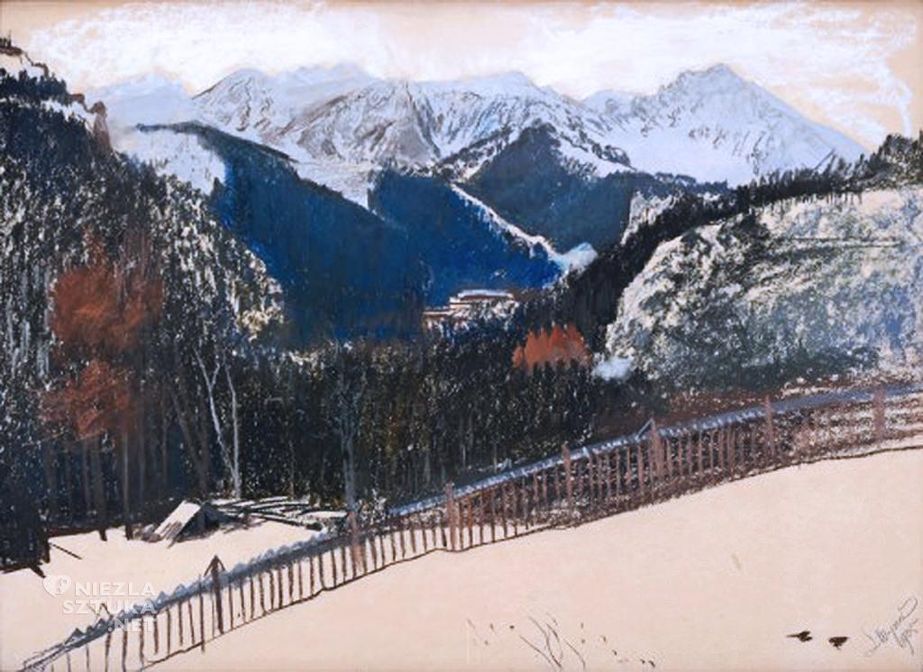 Leon Wyczółkowski, Widok z Kozińca, Zakopane w śniegu, malarstwo polskie, sztuka polska, Niezła Sztuka