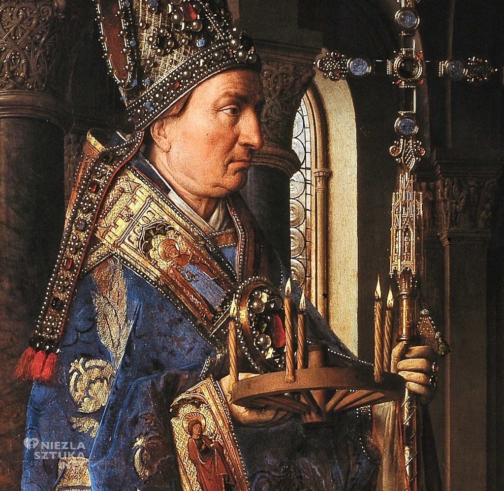 Jan van Eyck, Madonna kanonika Jorisa van der Paele, detal, 1436, olej na desce, 140,8 × 176,5 cm, Groeningemuseum, Brugia