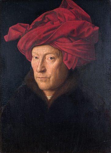 Jan van Eyck Portret mężczyzny w czerwonym turbanie (Autoportret?), 1433, 26 x 19 cm, National Gallery w Londynie