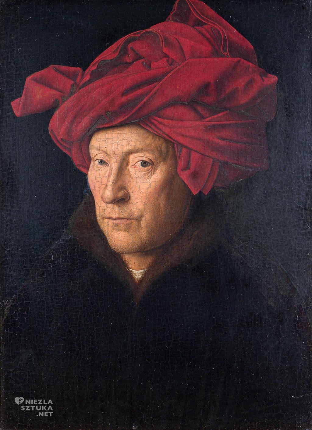 Jan van Eyck <em>Portret mężczyzny w czerwonym turbanie (Autoportret?)</em>, 1433, 26 x 19 cm, National Gallery w Londynie