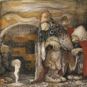 John Bauer, trolle, ilustracja, akwarela, sztuka skandynawska, Niezła Sztuka