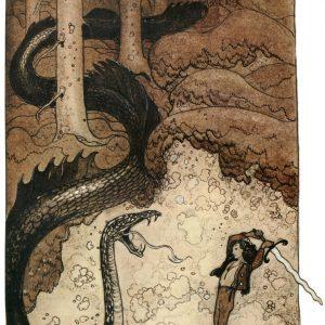 John Bauer, ilustracja, trolle, akwarela, sztuka skandynawska, Niezła Sztuka