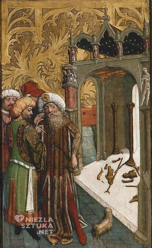 Mistrz Ołtarza św. Barbary, część środkowa Ołtarza św. Barbary (Upadek bożków) | 1447, Muzeum Narodowe w Warszawie