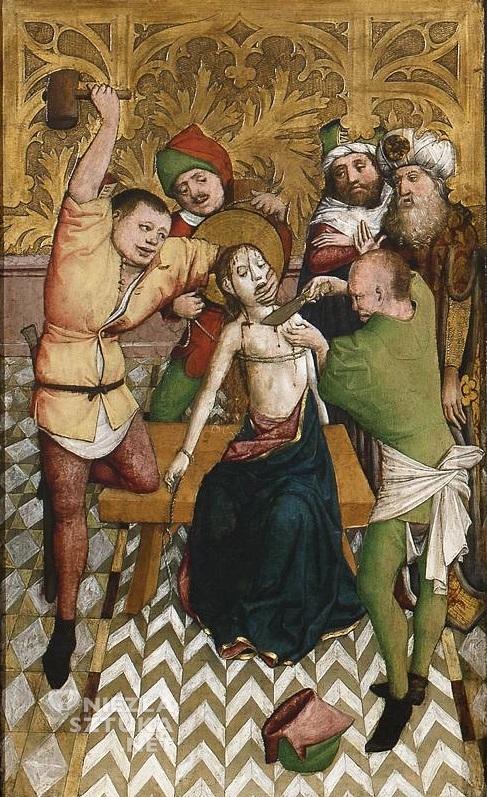 Mistrz Ołtarza św. Barbary, część środkowa Ołtarza św. Barbary (Trzecia tortura) | 1447, Muzeum Narodowe w Warszawie