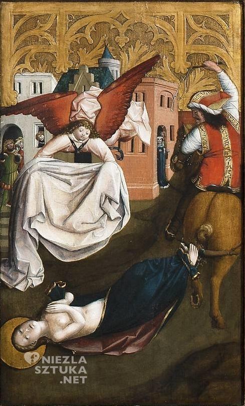 Mistrz Ołtarza św. Barbary, część środkowa Ołtarza św. Barbary (Wleczenie świętej  na śmierć) | 1447, Muzeum Narodowe w Warszawie