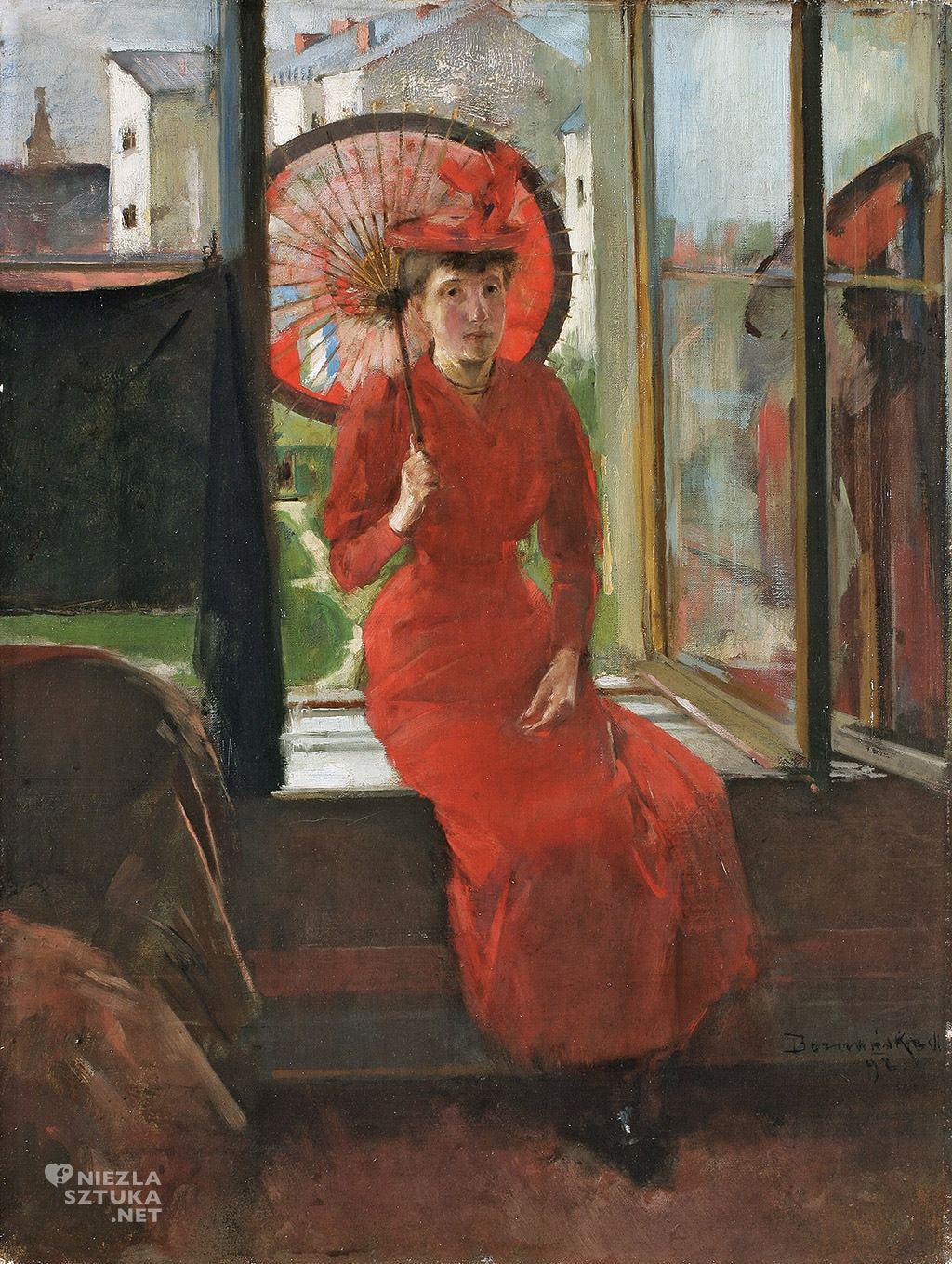 Olga Boznańska, Autoportret z japońską parasolką, malarstwo polskie, sztuka polska, Niezła Sztuka