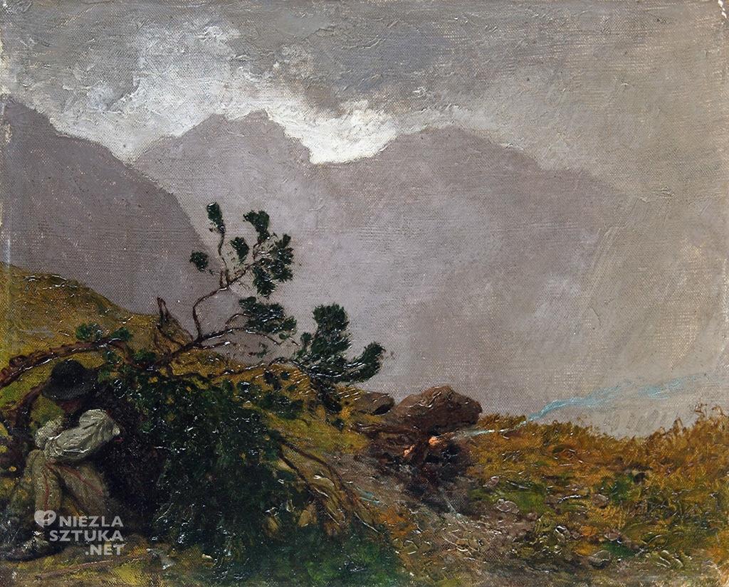 Wojciech Gerson, Pejzaż tatrzański z góralem (Ulewa w Tatrach), malarstwo polskie, sztuka polska, Niezła Sztuka