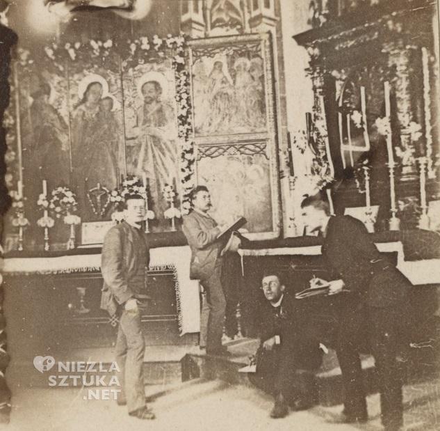 Wyspiański, Maszkowski, Czynciel, Mehoffer w kościele w Libuszy | 1889, źródło: pauart.pl