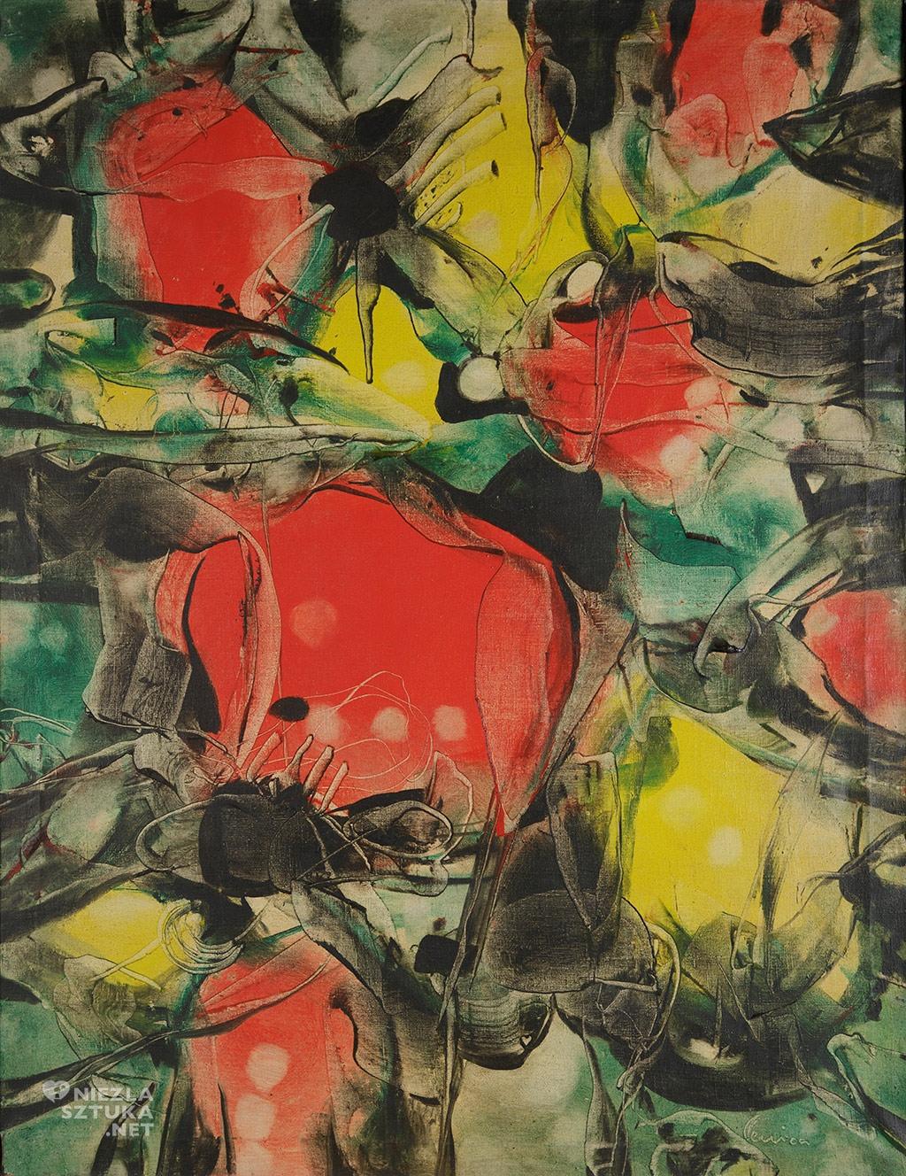 Alfred Lenica <em>Opis morza faktura, fantastyka</em>, olej, płótno, 1965, Muzeum Górnośląskie w Bytomiu