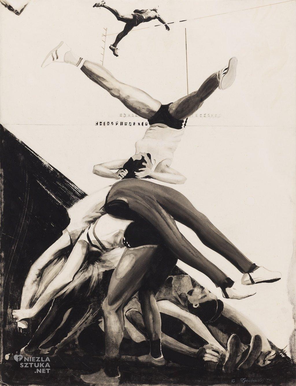 Trening I | 1972, tempera, węgiel, tusz, papier 64,5x49,5, własność Miejskiej Galerii Sztuki w Łodzi