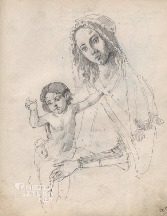 Karta ze szkicownika Mehoffera z 1890 r., z kopiami fragmentów dzieł Albrechta Dürera i innych artystów, źródło: polona.pl