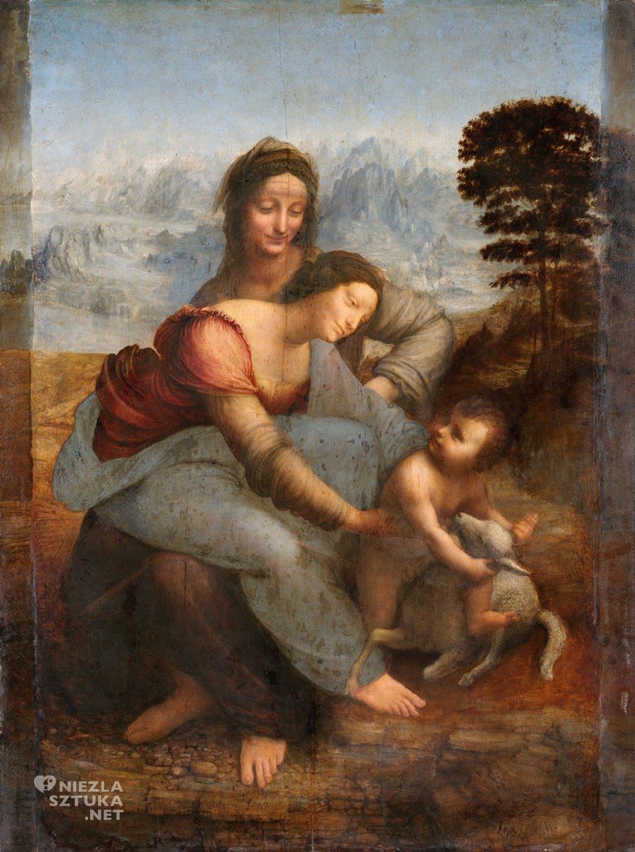 Leonardo da Vinci, Święta Anna Samotrzecia, ok. 1506-1513, Muzeum Luwr