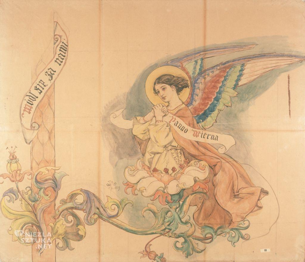 Jan Matejko, Anioł, karton do polichromii, kościół Mariacki, sztuka polska, malarstwo polskie, Niezła sztuka