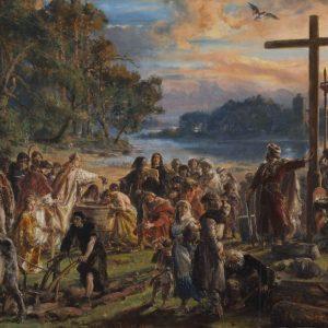 Jan Matejko, Zaprowadzenie chrześcijaństwa, malarstwo historyczne, sztuka polska, malarstwo polskie, Niezła sztuka