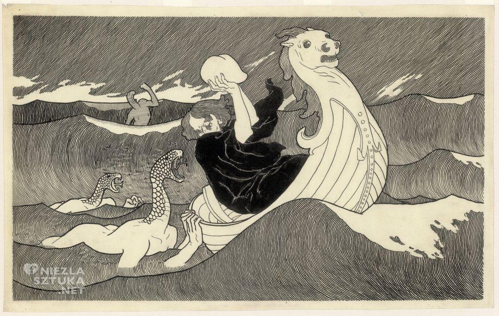 Edward Okuń, Żeglarz i potwory morskie |1901-1902, źródło: polona