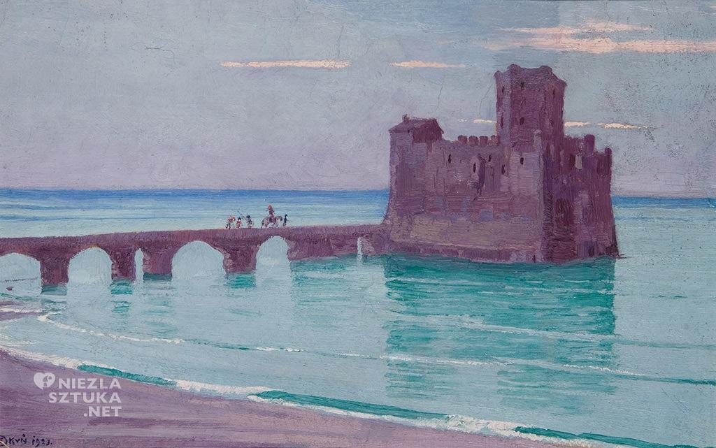 Edward Okuń, Twierdza morska  1923, olej, papier, Muzeum Pałac Herbsta, Oddział Muzeum Sztuki w Łodzi