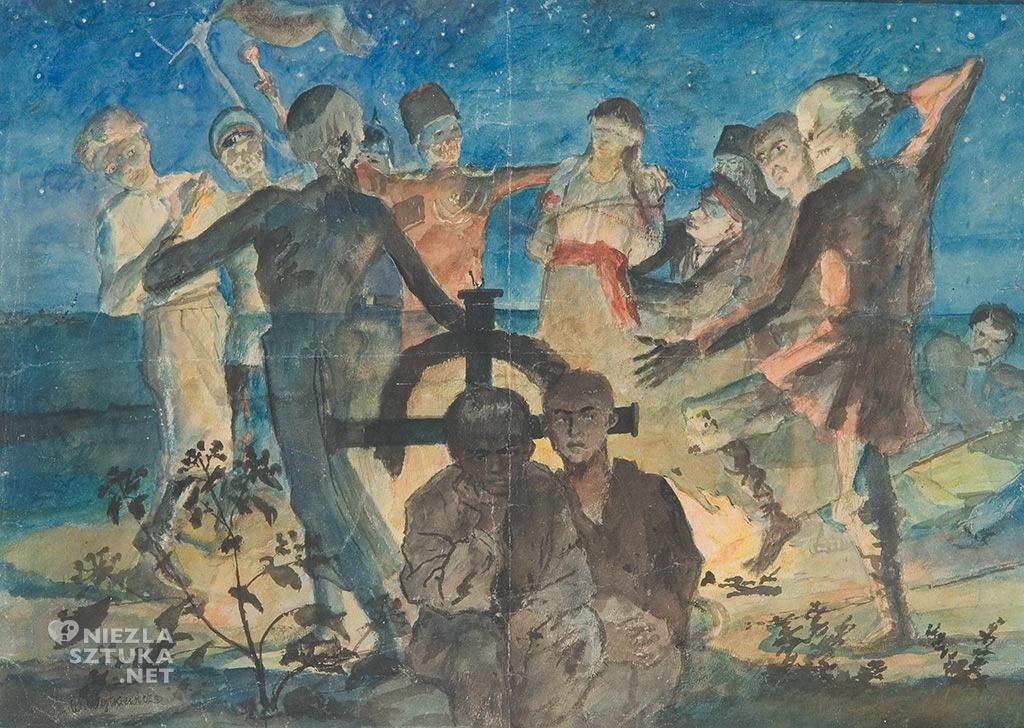 Witold Wojtkiewicz, Zaduszki  niedatowany, akwarela, papier, Muzeum Pałac Herbsta, Oddział Muzeum Sztuki w Łodzi