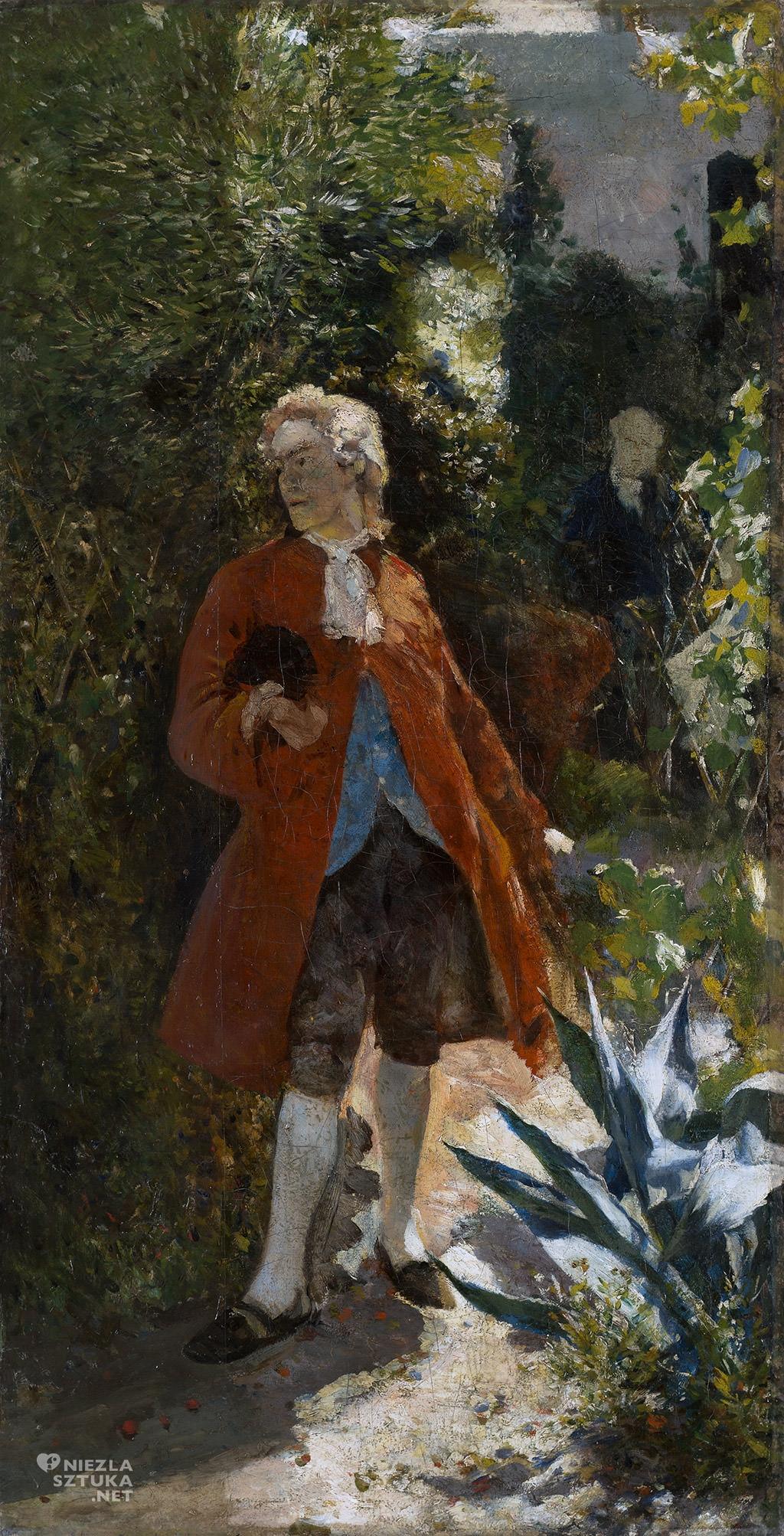 Aleksander Gierymski, Pan w czerwonym fraku, Altana, Muzeum Pałac Herbst, szkic, Niezła sztuka