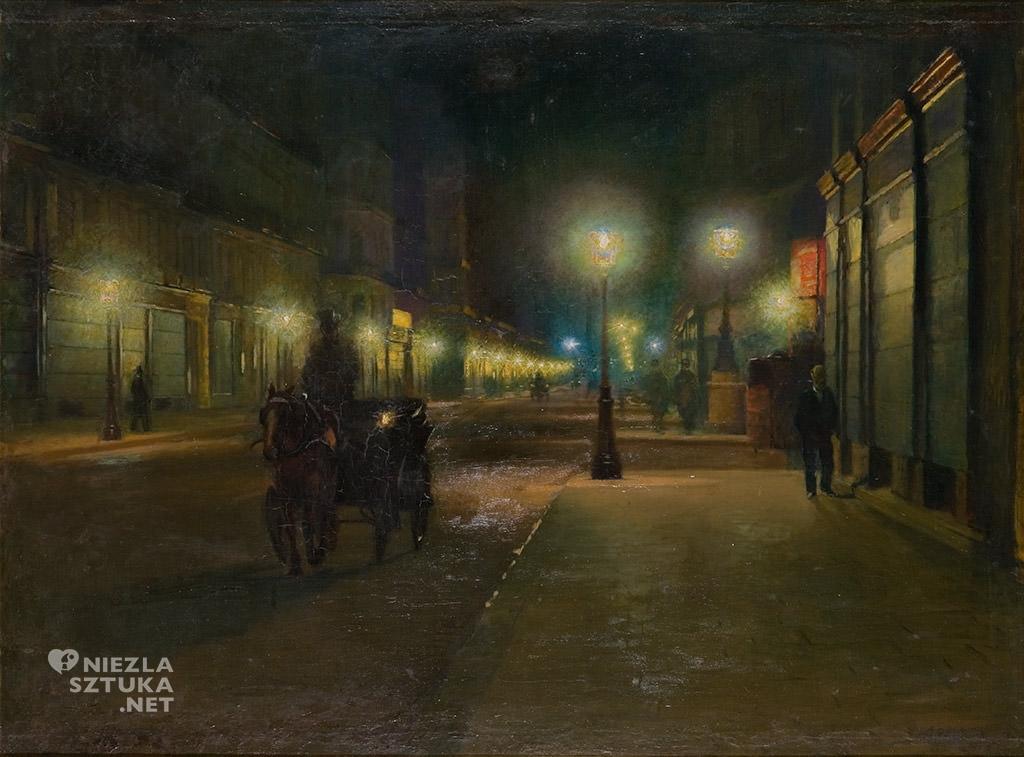 Ludwik de Laveaux, Paryż w nocy, nokturn, sztuka polska, malarstwo, Niezła Sztuka