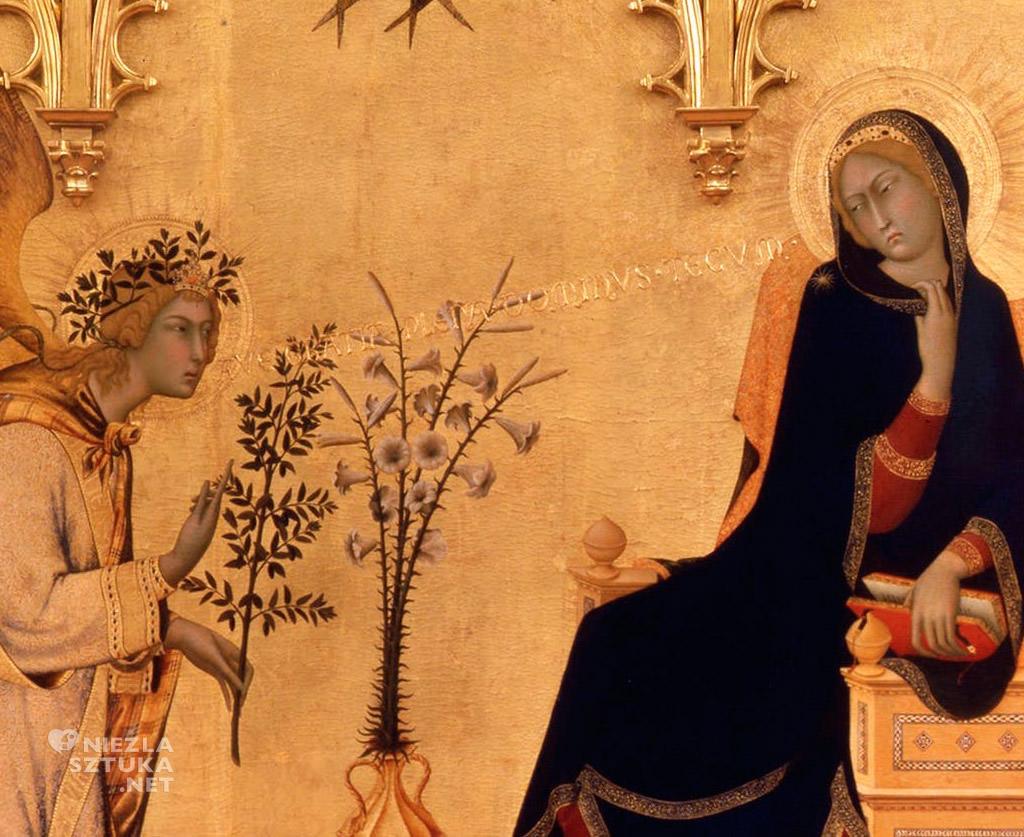 Simone Martini, Lippo Memmi, Zwiastowanie, Uffizi, Florencja, Niezła sztuka, historia sztuki, malarstwo włoskie