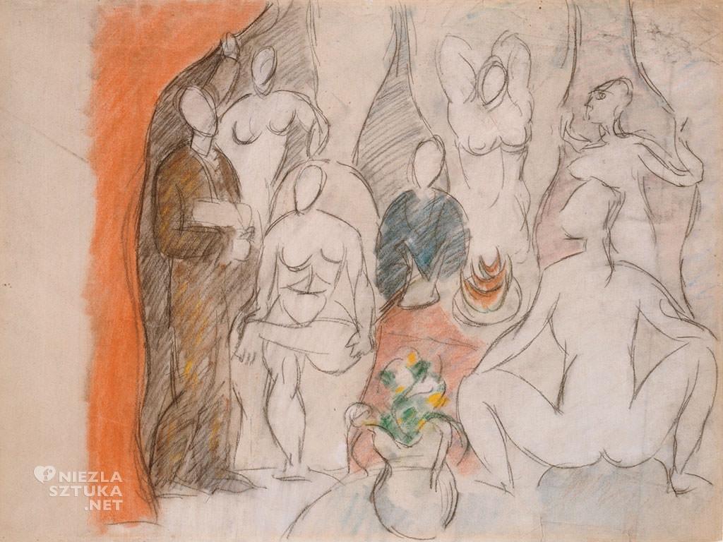 Pablo Picasso, Szkic do obrazu Panny z Awinionu, 1907, ołówek, pastel, papier, Kunst Museum Basel, Niezła Sztuka