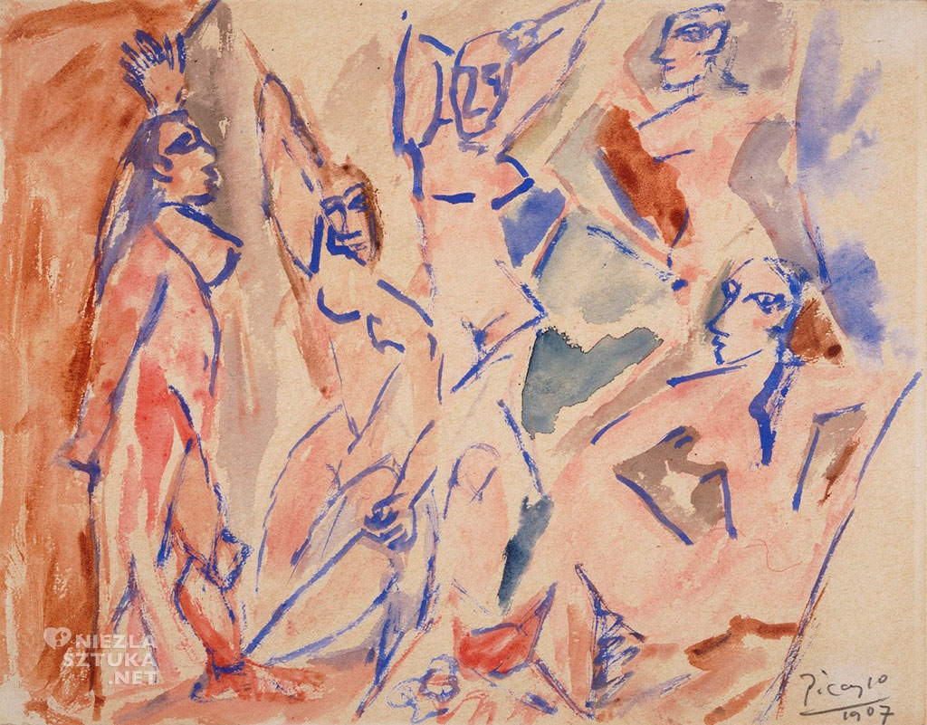 Pablo Picasso, Szkic do obrazu Panny z Awinionu, 1907, akwarela, papier