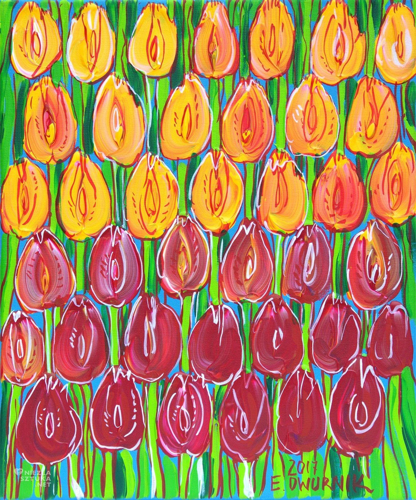 Edward Dwurnik tulipany, sztuka polska, malarz polski, niezła sztuka