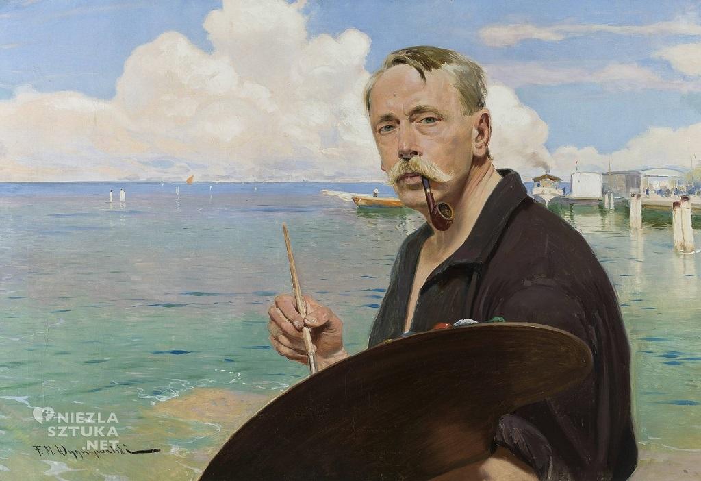 Feliks Michał Wygrzywalski, Autoportret z paletą na tle morza i portu, sztuka polska, Niezła sztuka