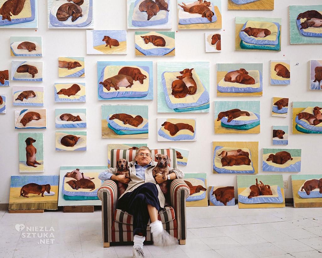 David Hockney z psem