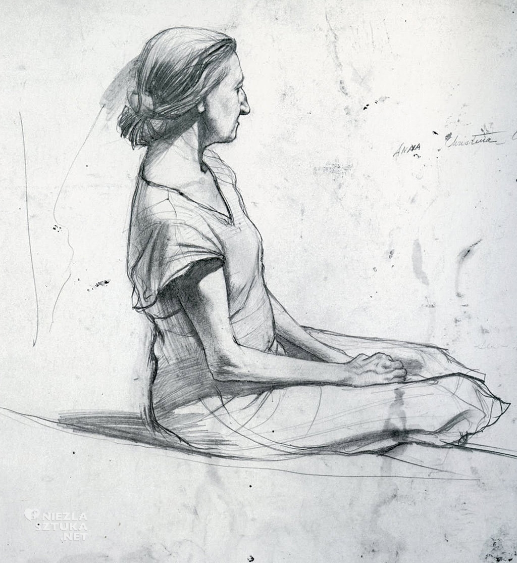 Andrew Wyeth, studium postaci do portretu Christiny, źródło: kemostudios.blogspot.com