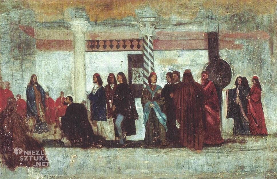 """Aleksander Gierymski, Szkic ze sceną sądu z """"Kupca Weneckiego"""" tzw. modello, 1872, własność prywatna"""
