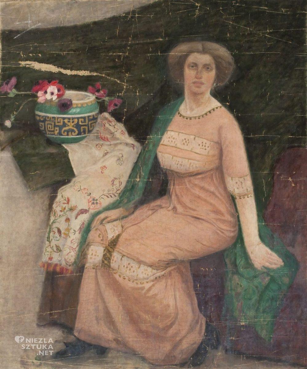 Tadeusz Makowski, Portret damy w różowej sukni Wanda Popławska