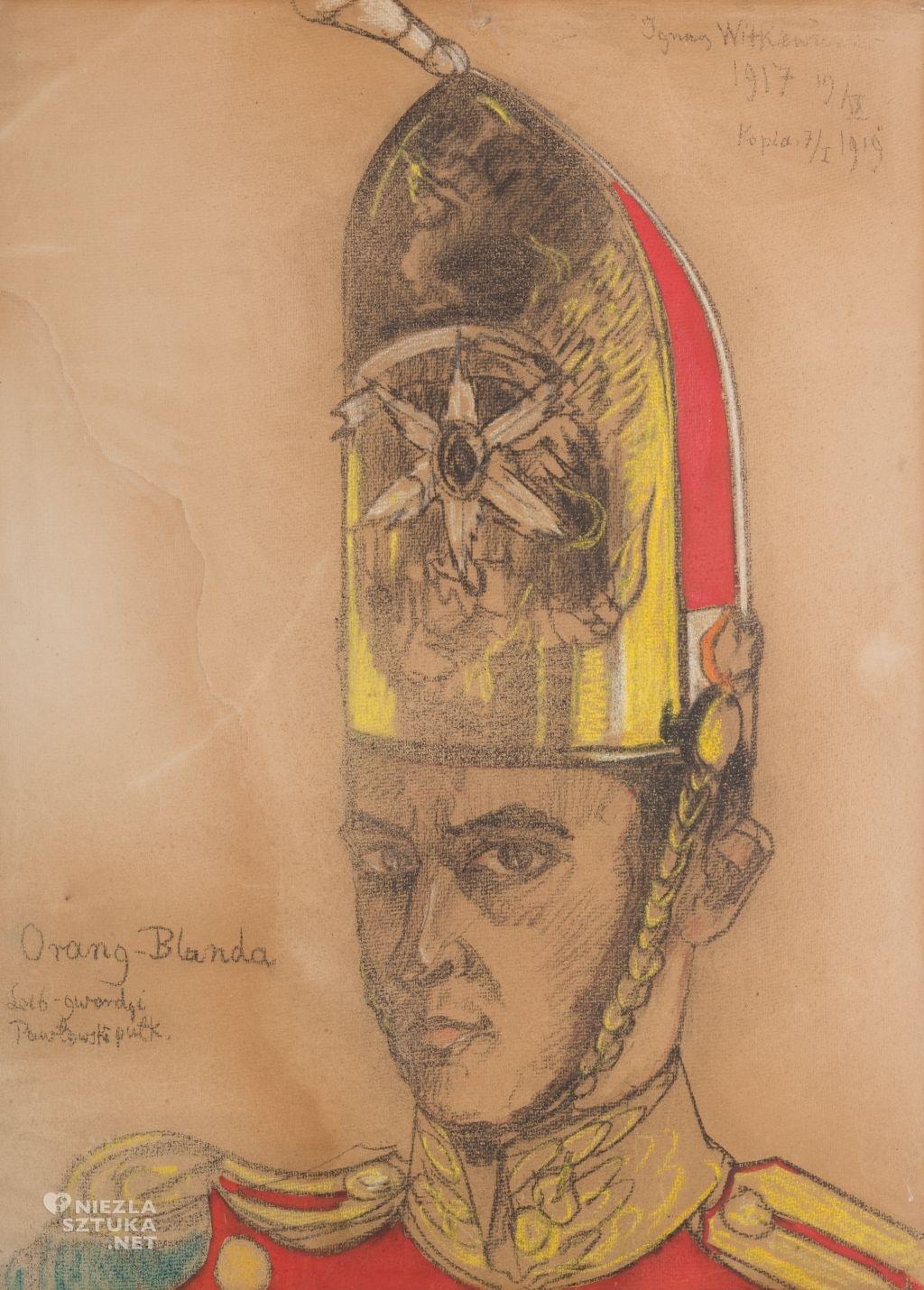 Stanisław Ignacy Witkiewicz, Autoportret w gwardyjskim czaku, 1919, Muzeum Narodowe w Krakowie