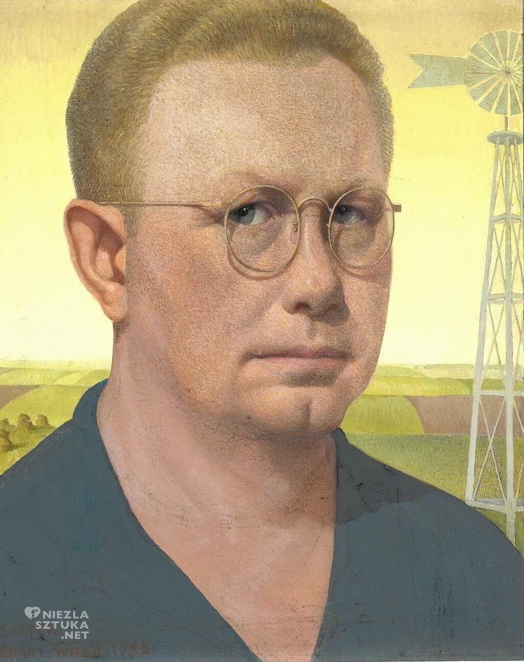 Grant Wood, Autoportret, sztuka amerykańska, Niezła Sztuka
