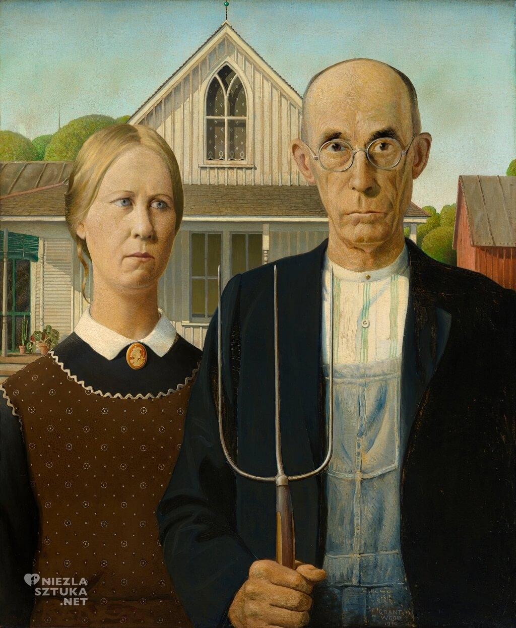 Grant Wood, American Gothic, sztuka amerykańska, Niezła Sztuka