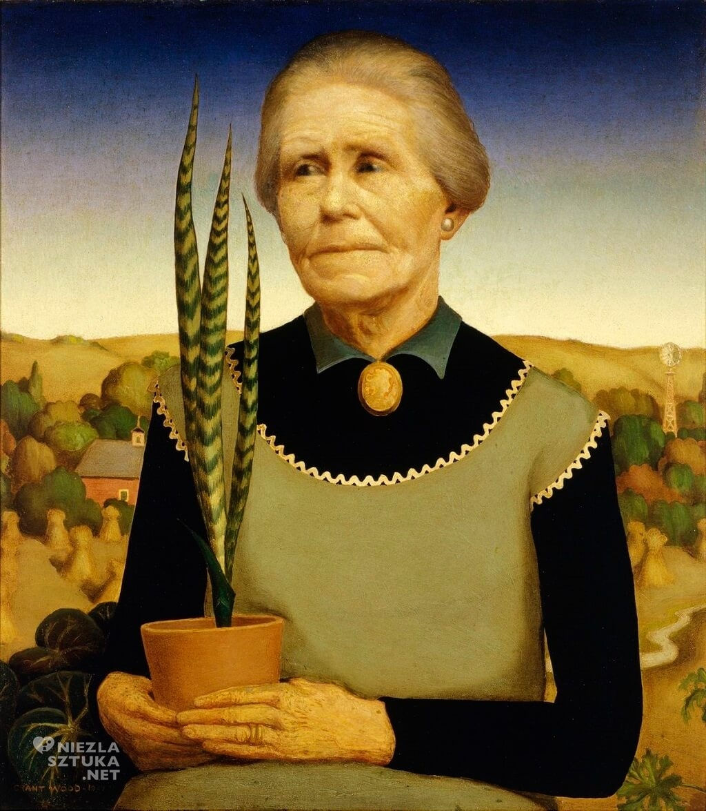 Grant Wood, Woman with Plants, sztuka amerykańska, Niezła Sztuka