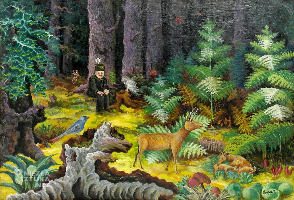 Teofil Ociepka, Górnik w lesie, sztuka polska, grupa janowska, sztuka naiwna, Niezła Sztuka