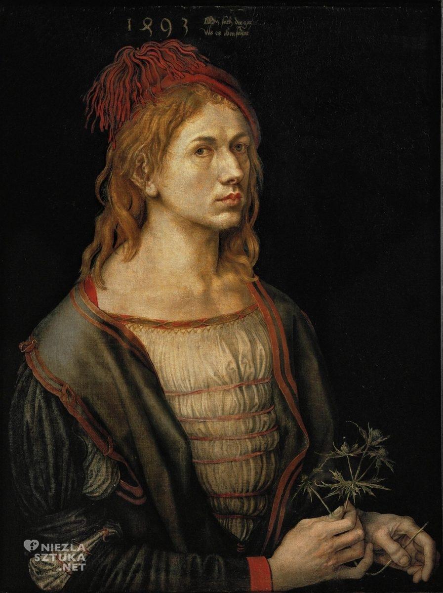 Albrecht Dürer Autoportret z kwiatem mikołajka