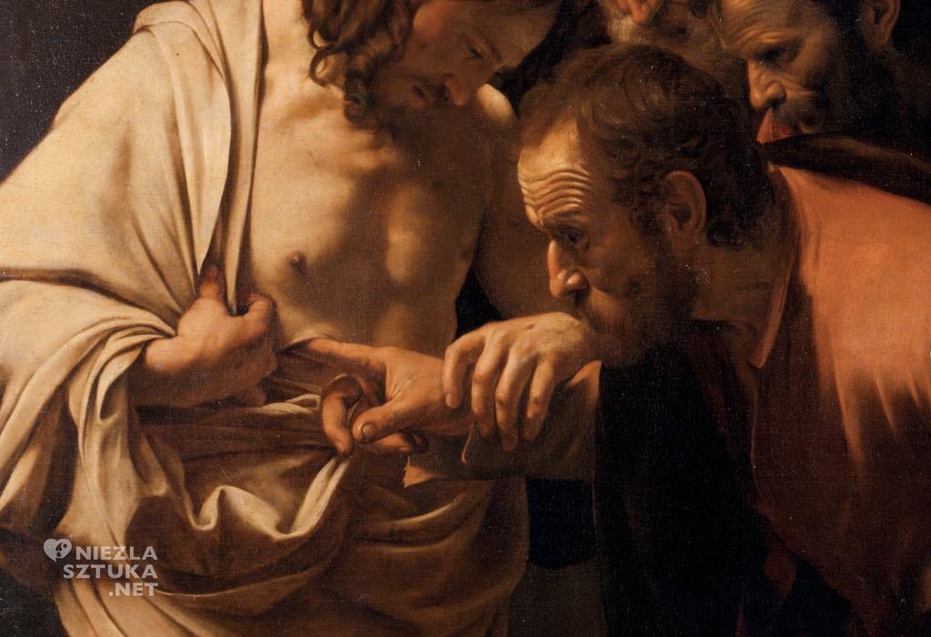 Caravaggio, Niewierny Tomasz, detal, Niezła Sztuka