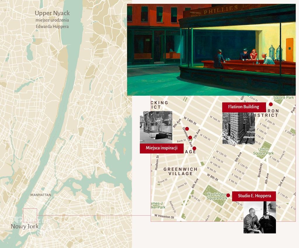 Edward Hopper Nocne jastrzębie Nighthawks, mapa, Niezła sztuka