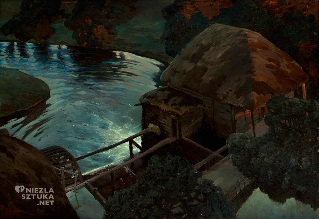 Ferdynand Ruszczyc, Młyn nocą | 1898, Muzeum Narodowe w Krakowie, sztuka polska, malarstwo polskie, Niezła sztuka