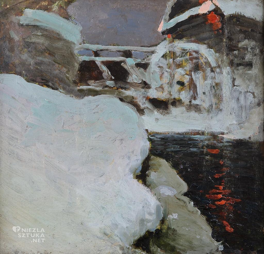 Ferdynand Ruszczyc, Młyn zimą, 1897, Muzeum Górnośląskie w Bytomiu, sztuka polska, malarstwo polskie, Niezła sztuka