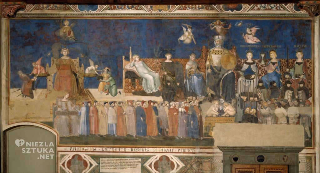Ambrogio Lorenzetti Alegoria dobrych rządów | 1338-1339, freski, Palazzo Pubblico, Siena