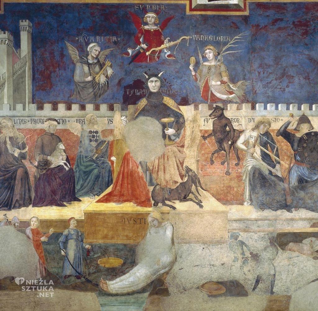 Ambrogio Lorenzetti Alegoria złych rządów | 1338-1339, freski, Palazzo Pubblico, Siena